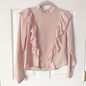 Forever21 Blush pink blouse with ruffles size S